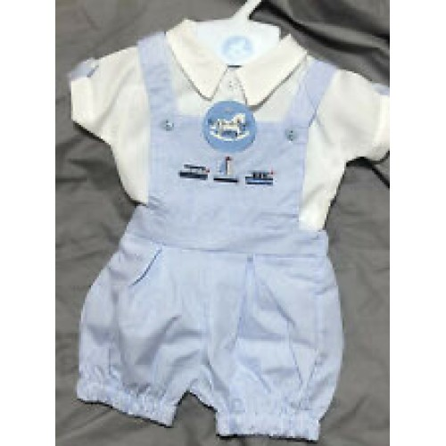NEW IN Boys Pin Striped Dungaree Set